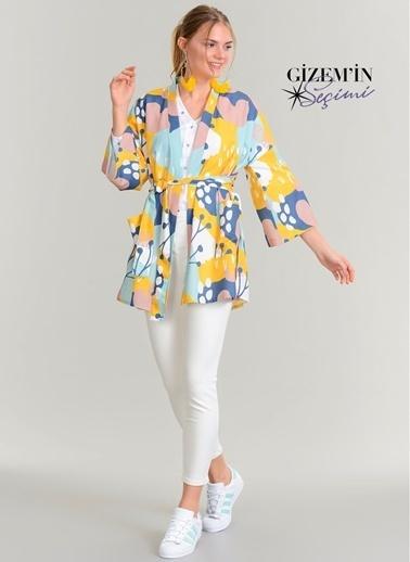 Agenda Desenli Kimono Ceket Mavi
